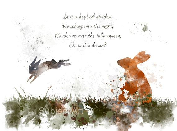 Watership Down inspired ART PRINT illustration, Bright Eyes, Quote, Rabbit, Wall Art, Home Decor