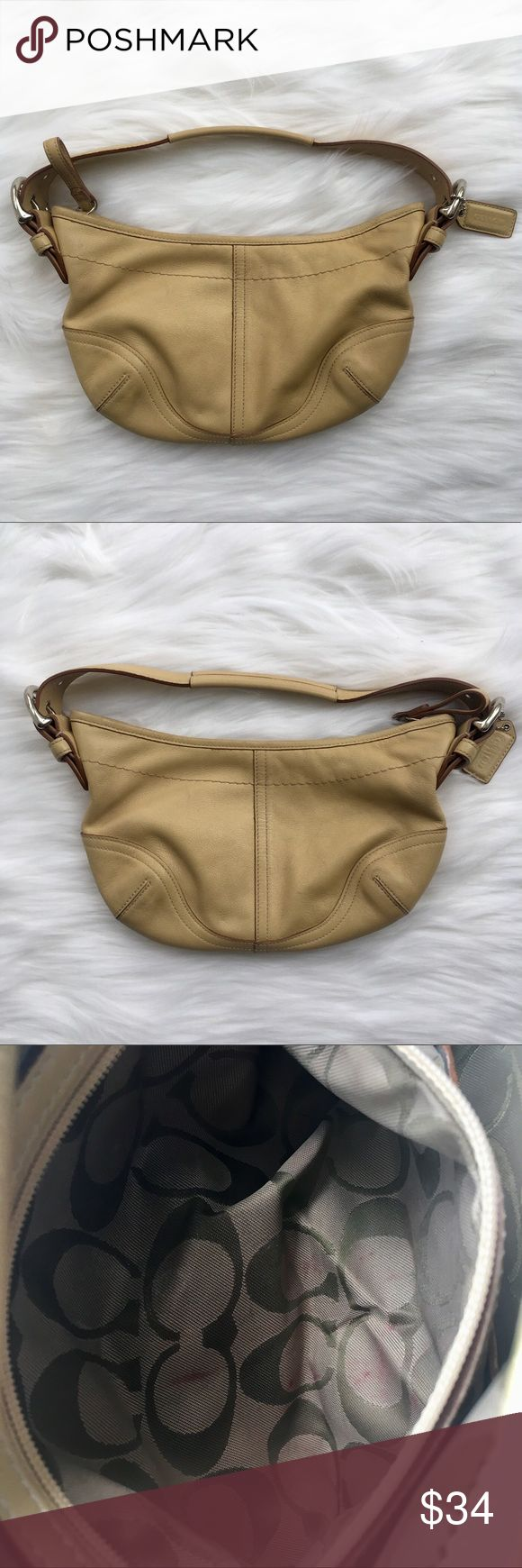 "Coach Hobo Bag Small | 9541 Beautiful Coach small Hobo Bag. #L3S 9541 Natural cowhide leather. Fabric optic pattern interior.  Zipped pocket interior. Great condition! Dimensions: Approx. 10"" W x 6"" L x 7.75"" strap drop Some signs of love including some marks (see pictures). We will consider offers!!  Please note: All sales are final, no returns or exchanges. Coach Bags Hobos"
