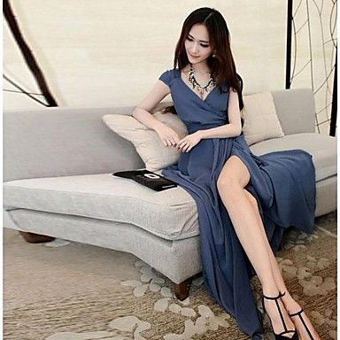 Women's Deep V Neck  Bodycon Solid Color Korean Dress – USD $ 28.79