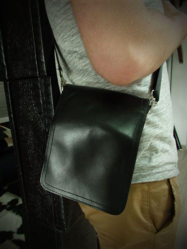 Męska, czarna, na ramię. Poręczna torba ze skóry naturalnej, Gawor Collection dla mężczyzn