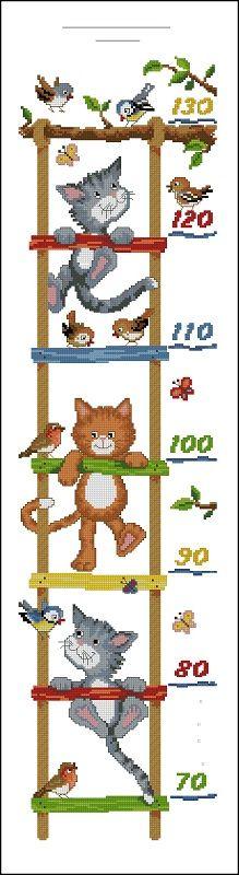 """Сачать схему вышивки """"Cats Height Chart"""""""