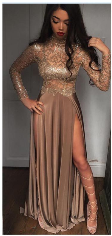 High Neck Prom Dresses,Champagne Prom Dress,Gold Prom Dresses,Sexy Evening Dress,Splits Party Dresses,Long Sleeve Prom Dress #prom #formal #evening #party #longsleeve #sexy #long