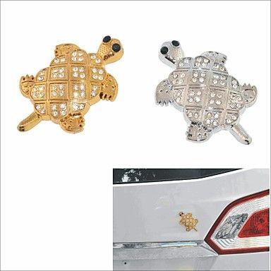 diy 3d roestvrijstalen beplating kristal schildpad auto decoratie sticker - EUR € 1.99