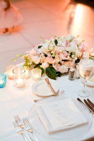 Pale Pink and White Reception Table Decor | photography by http://connielyu.com/