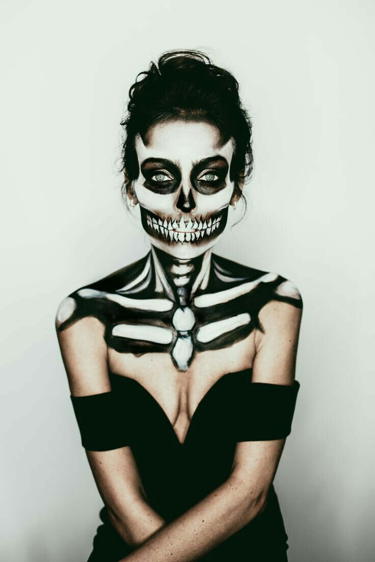 62 terrifyingly cool skeleton makeup ideas to try for halloween - Halloween Skeleton Makeup Ideas