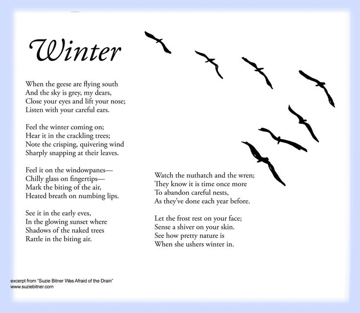 Sensory language winter Poem for children. Great for school and classroom activities. common core first 1st grade, second 2nd grade, third 3rd grade reading #ESL