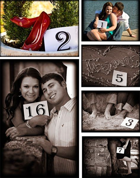 engagements photos   become decorations for table numbers!!