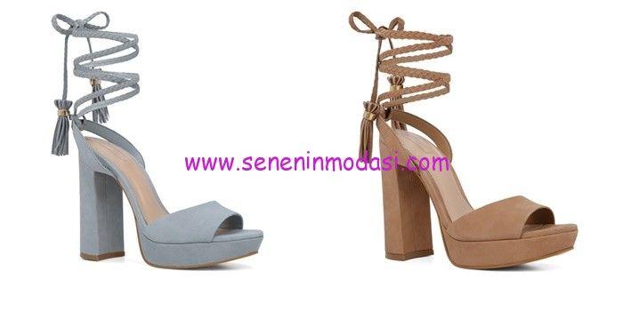 Aldo kalın topuklu süet sandalet modelleri