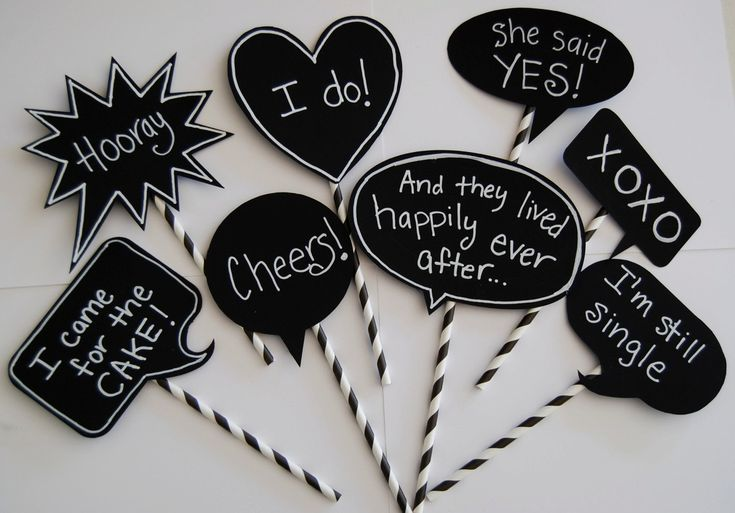 8 Chalkboard Photo Booth Props Speech Bubbles  Chalk Board message Signs  - Party  Photo Decorations  wedding shower parties. $15.95, via Etsy.