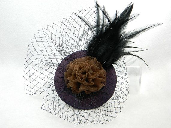 Fascinator dark purple brown black Ladies Hat by Nashimiron