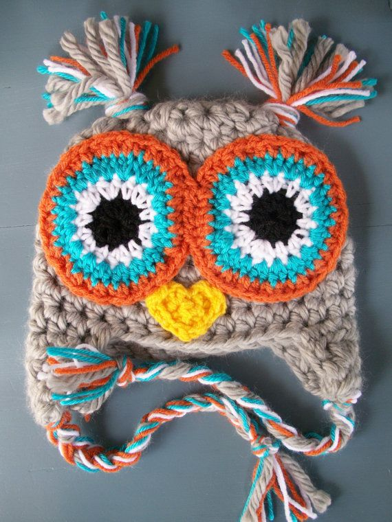 Baby Boy Crochet Owl Animal Beanie Hat SIZE 12 by wadamska on Etsy, $25.00. Cute color scheme