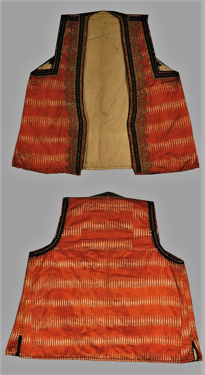 Women's 'yelek' (sleeveless vest), red/white ikat woven cotton satin. Made from a caftan. Gold and silver thread embroidered edge binding.  From the Bartin region, first half of 20th century.