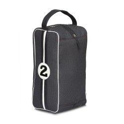Le sac à chaussures pour homme de chez Entre 2 Retros : pour des chaussures de golf, foot, course automobile... léger solide, en cuir et tissu upcyclés, et joli !