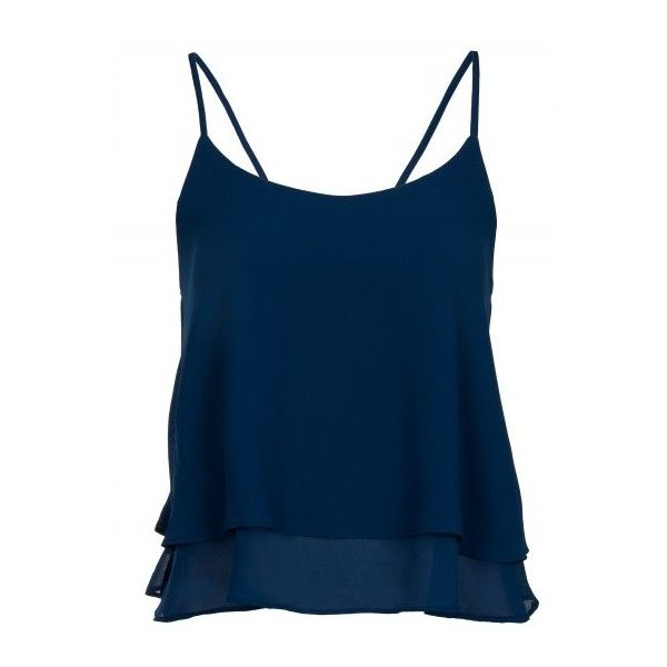 Navy Strappy Frill Cami Top ($16) ❤ liked on Polyvore featuring tops, navy camisole, summer tops, strappy cami, navy blue camisole and ruffle tank top