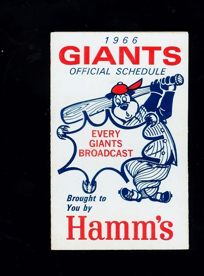 *1966 San francisco Giants MLB baseball tri-fold schedule (Hamm's Beer) #sfgiants