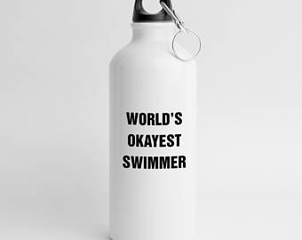 Swimmer Gift, Swimming Gifts, Water Bottle, Sports Bottle, Worlds Okayest Swimmer, Lifeguard, Swim Team, Swimming Coach, Instructor - WB012