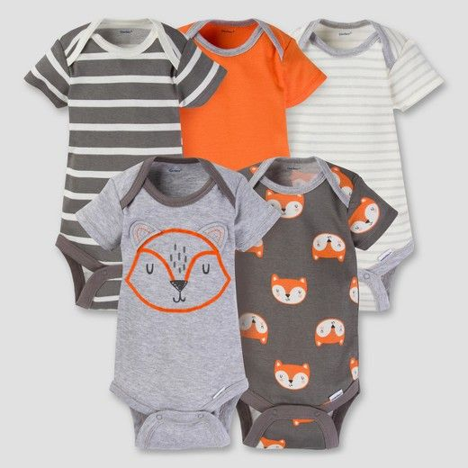 Your little boy will start the day looking his best dressed in one of these heather grey and orange fox Gerber® short sleeve Onesies® bodysuits! This 5-pack features an adorable fox theme. He's sure to love looking at the fun prints and bright colors. He will love the 100% Cotton rib fabric for breathability, comfort and softness and the fox face bodysuit is 93% Cotton/7% Rayon to get the trendy Heather Grey color. Mom will appreciate the higher-in-the-front bottom ...