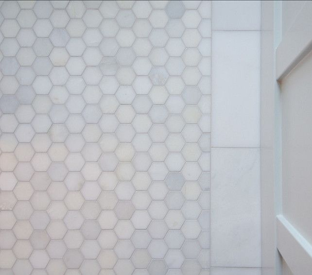 Stylish Family Home with Transitional Interiors Gorgeous hexagon marble floor tiles.