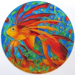 """Ručně malovaná vitráž - """"Korálová Kráska"""" (kruh 30 cm) Hand Painted Stained Glass"""