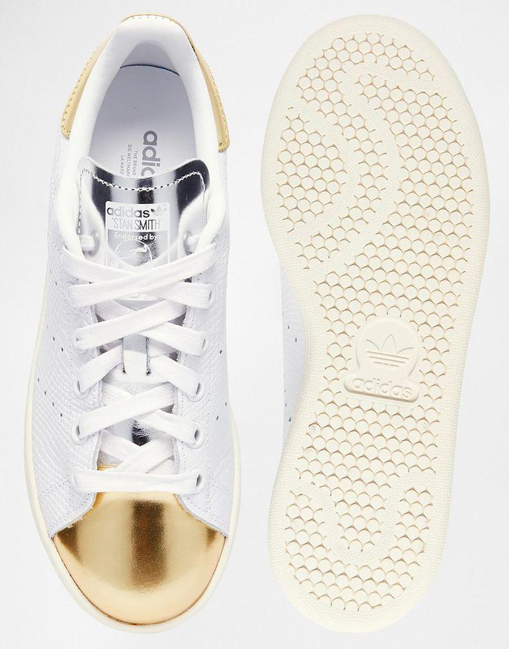 adidas Originals - Stan Smith - Baskets à bout rapporté - Blanc et or
