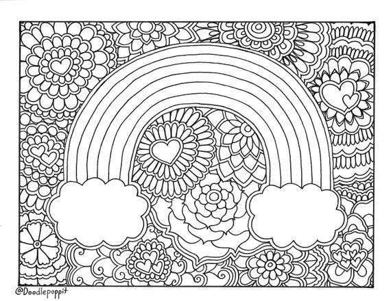 Rainbow Pride Coloring Page Coloring Book Page Printable Adult