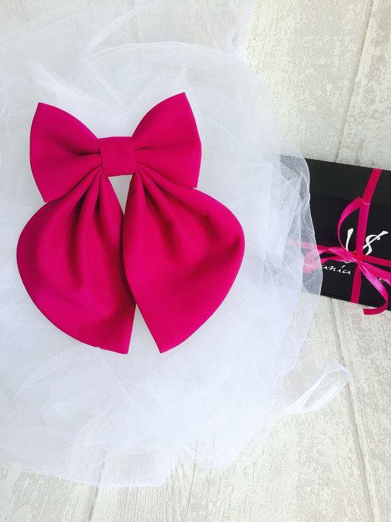 Fuchsia Matte Women's Bow Tie Genuine New Brooch 100% Silk #BowsByVaniaSzasz #bowtie #handmade #Etsy
