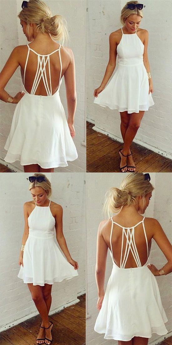 Nifty Girl's White Sleeveless Back Cross Straps Backless Party Evening Cocktail Dress Ruffles Chiffon Summer Dresses for big sale! #dress #cross