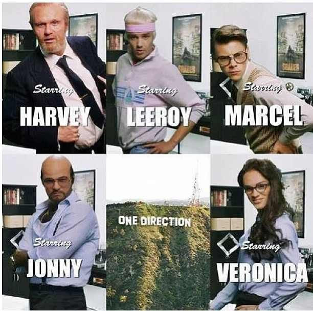 One Direction Best Song Ever harvey is naill leeroy is Liam marcel is harry jonny is louis and last but certainly not least veronica the sexy assistant A's zayn live these guys and harry dimples!