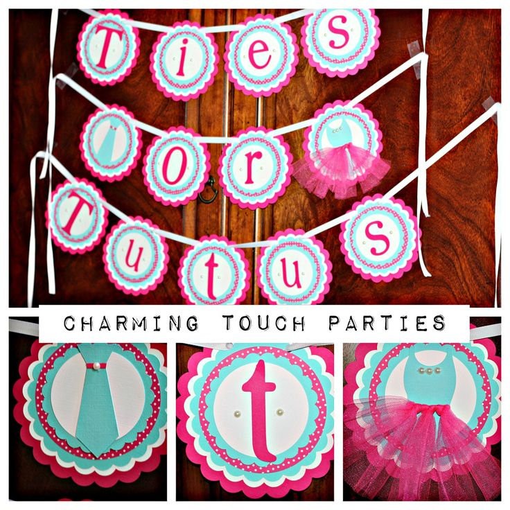 Gender Reveal banner by Charming Touch Parties.  Hot pink and Tiffany Blue.  Ties or Tutus.  Deluxe and customizable. by CharmingTouchParties on Etsy