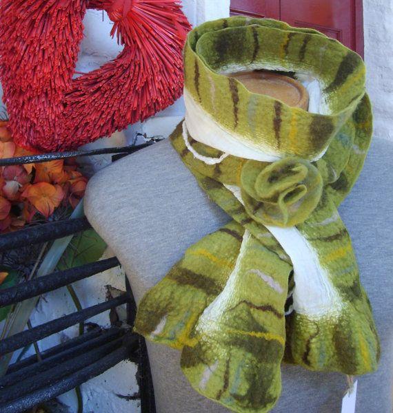 Mossy Green Nuno felted scarf by Beautifulfelts on Etsy, $60.00