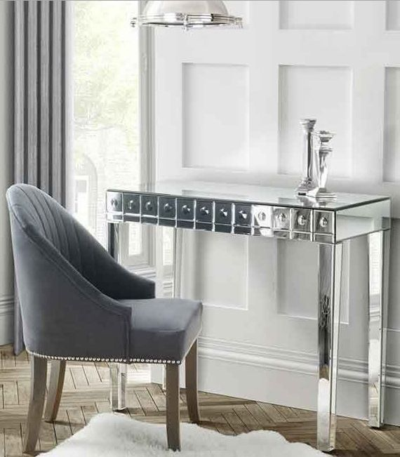 Mirrored dressing table vanity glass console bed room for Bed and dressing table