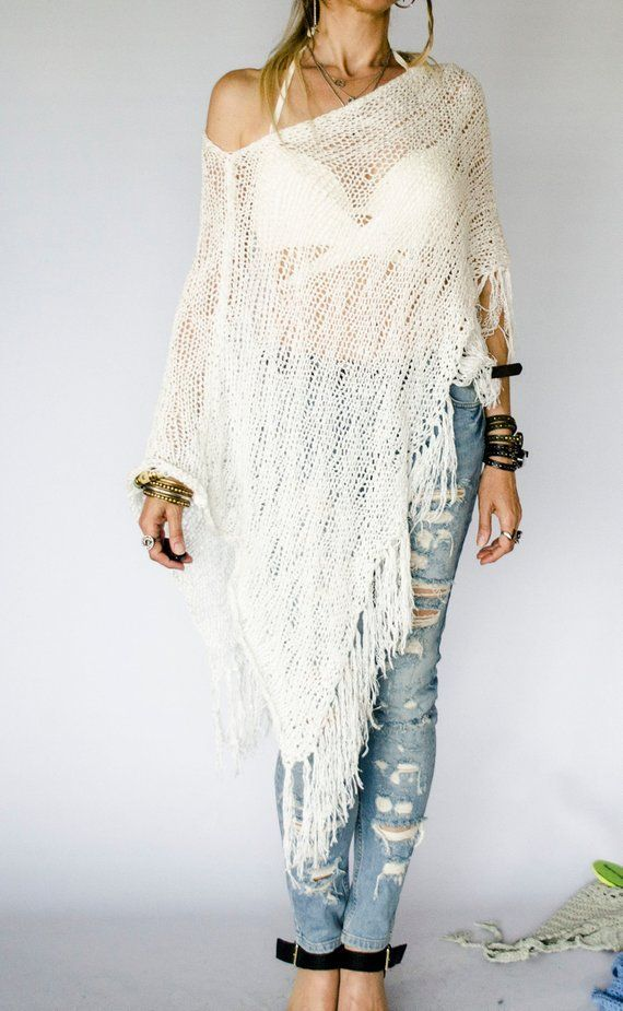 Knit Poncho Beach Cover Up White Beach Wear Bridal Cover Up Sequin Knit Top Gift For Her Asymmetric Summer Sh Knitted Poncho Knitwear Women Poncho Tops