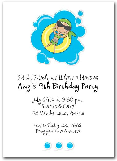 27 best Invitations images on Pinterest Invitations, Pool party - birthday invitation swimming party