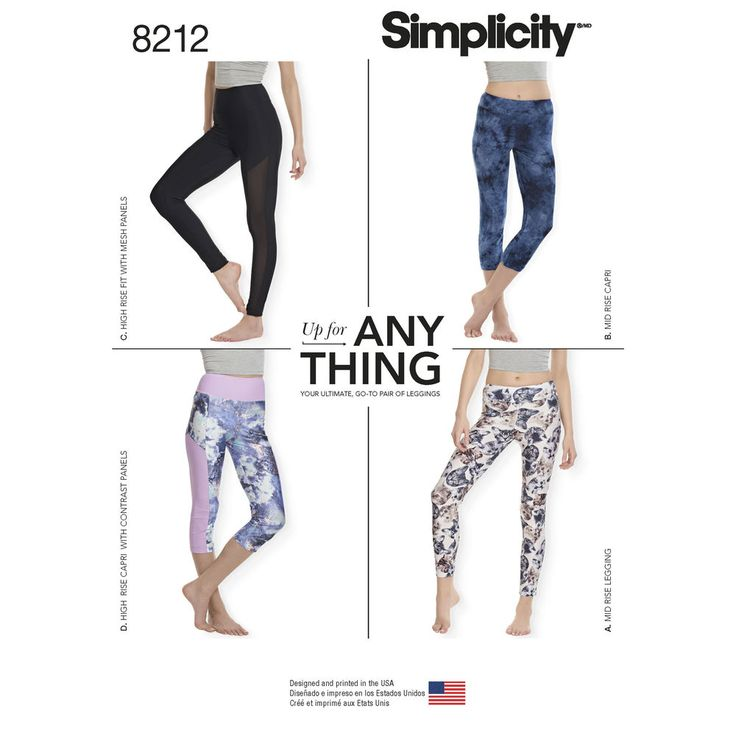 "Knit legging pattern sized XXS-XXL is a wardrobe essential, perfect for active wear fabrics, or fashion knits. Pattern includes pants with 4"" waistband in ankle or cropped length with contrast side panel, or can be made with 2"" waistband in ankle or cropped length. Simplicity sewing pattern."