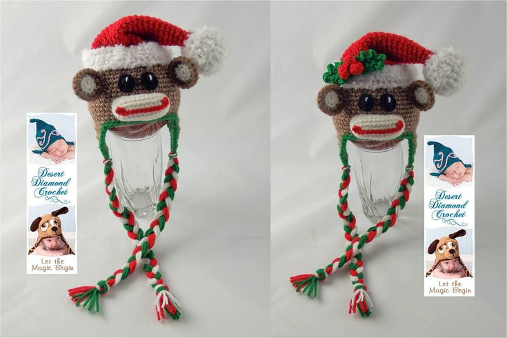 Crochet Pattern 070 - Christmas Santa Sock Monkey Beanie Hat - All Sizes. $5.95, via Etsy.