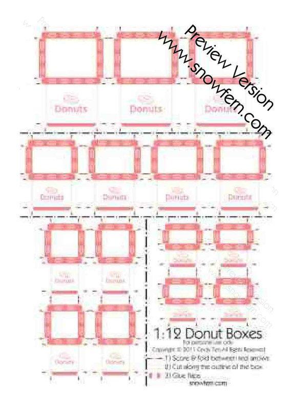 Dollhouse Photography Calendar : Printable pdf file dollhouse miniature donut boxes