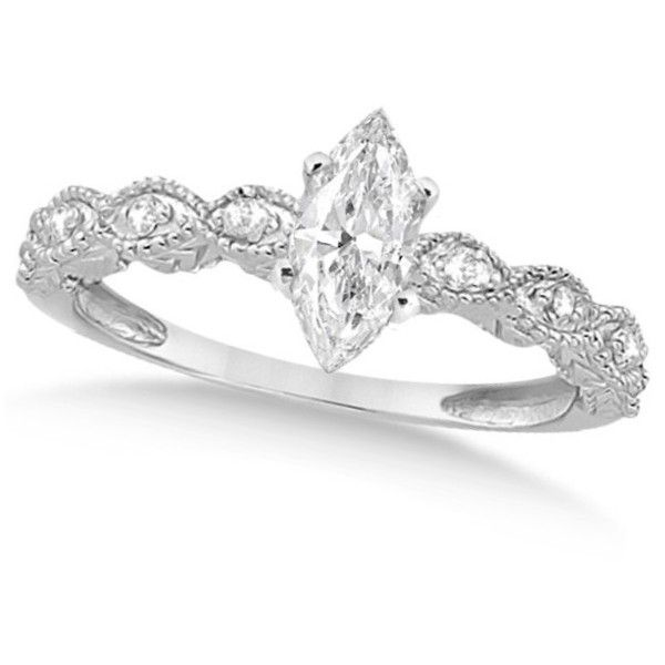 Allurez Marquise Antique Diamond Engagement Ring in 14k White Gold... found on Polyvore