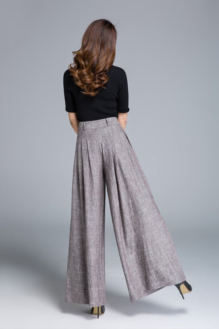 wide leg pants linen pant pleated pant brown pant womens