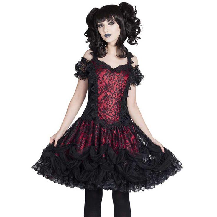 Sinister Fidelia lolita off shoulder mini jurk met pofmouwen bordeaux/