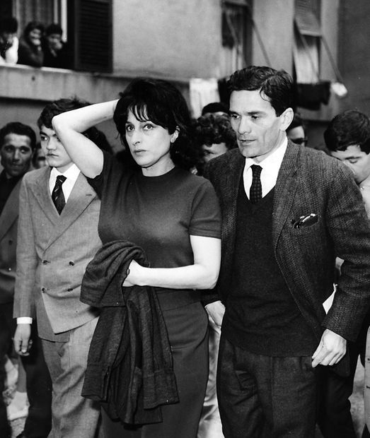 Ettore Garofolo, Anna Magnani and director Pier Paolo Pasolini during filming of…