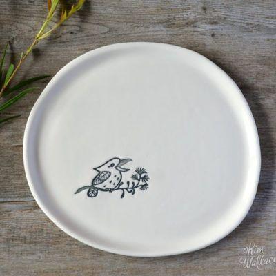 Bush Prints Collection ~ Kookaburra plate    A collaboration between artist Renée Treml and Kim Wallace Ceramics ~ Handmade Australian Ceramics