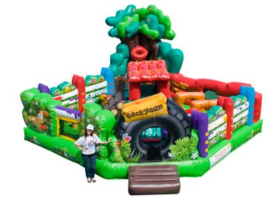Backyard Toddler Combo, Backyard Bounce House Rental 800-873-8989 Everyone enjoys playing in a backyard with white picket fences, tire swings, club houses, basketball courts, we have brought this past-time fun and joy into a inflatable with this Backyard Toddler Combo. Features bouncing area, popups, port holes, obstacles, climber, slide, and basketball hoop. Rent online at http://www.magicjumprentals.com/rentals/37_inflatable-combos/652_backyard-toddler-combo