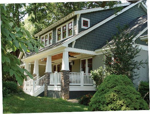 Shaker shingles, big front porch, bench swing, fans, nice ceiling.....