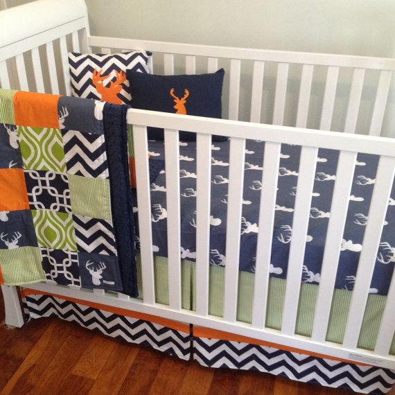 Bumperless 3pc Crib Bedding Set in Navy Orange and by maxandgrace