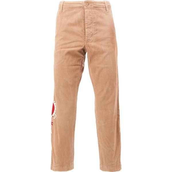 Gucci embroidered dragon chinos (18.035.150 IDR) ❤ liked on Polyvore featuring men's fashion, men's clothing, men's pants, men's casual pants, mens embroidered pants, mens elastic waistband pants, mens chino pants, mens chinos pants and gucci mens pants
