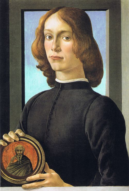 Sandro Botticelli, Portrait of a Young Man with a Medallion, 1480s. Tempera on panel, dimensions unknown. Washington, National Gallery of Art.