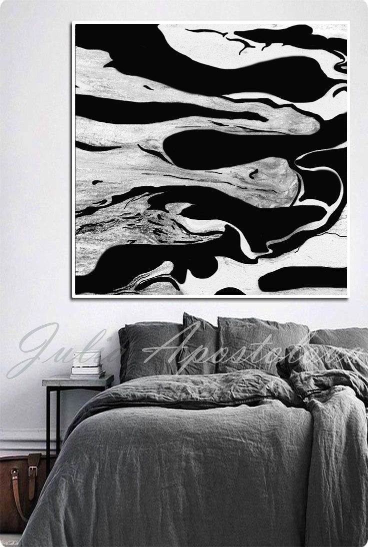 Black and White Print, Wall Art, Abstract Painting, Large ...  Black and White...