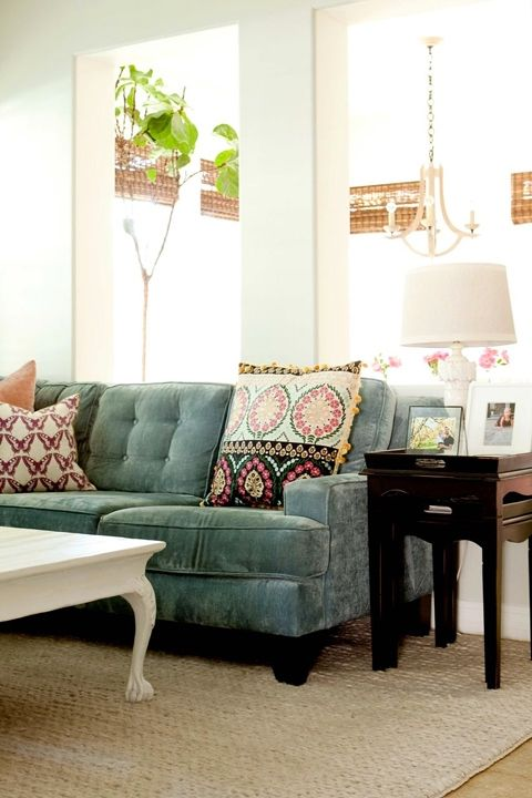 love the color and fabric of this sofa