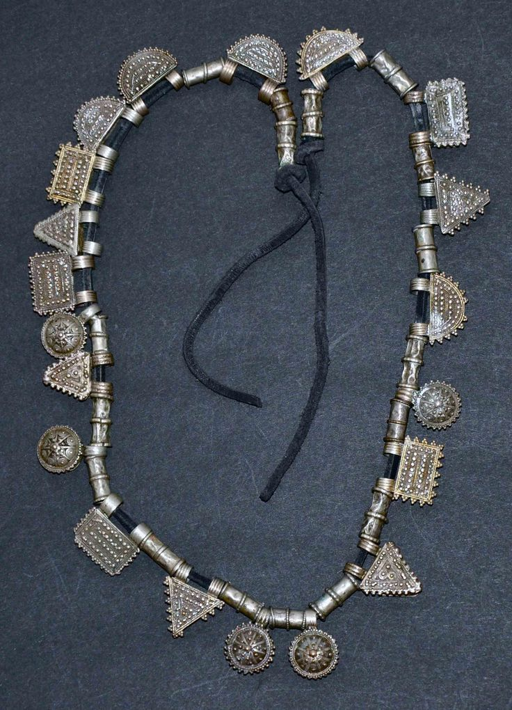 Africa   Ethiopian telsum necklace; coin silver and leather   ©Preethi, via Ethnic Jewels