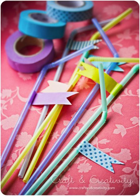 washi tape and straws.: Cute Parties Ideas, Tape Straws, Good Ideas, Birthday Parties, Cute Ideas, Parties Straws, Washi Tape, Tape Parties, Flags Parties